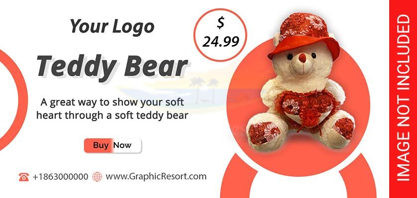 Cute Teddy Bear Social Post Banner Free PSD Template 840-by-400-preview