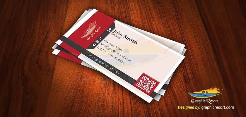 Modern Red Business Card PSD Template 840 by 400 preview