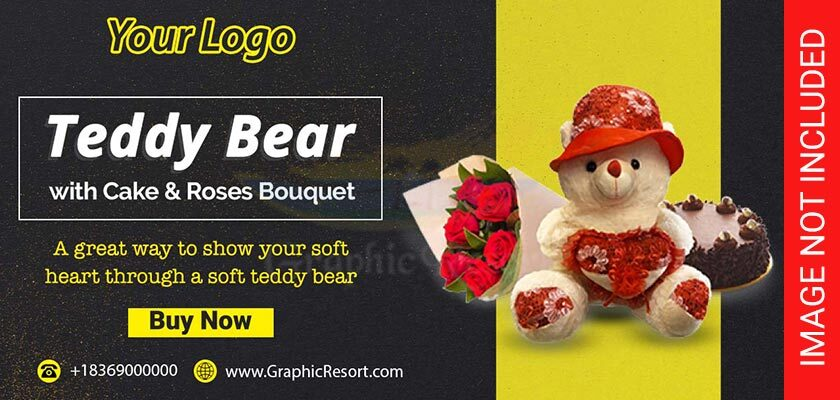 Teddy bear post banner Free PSD Template 840-by-400-preview