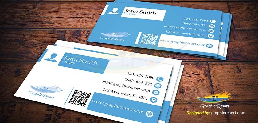 Two Color Bold and Creative Business Card PSD Template 840 by 400 preview