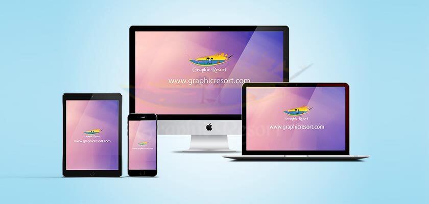 Free Apple iMac, Macbook, iPad and iPhone Responsive Website Mockups 840-by-400-preview