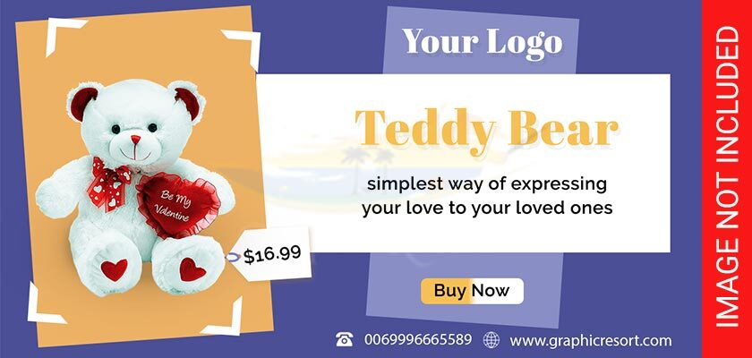 Teddy bear post banner Free PSD Template #2 840-by-400-preview